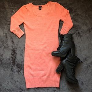 Rue 21 Coral Glitter Sweater Dress • 3/4 length